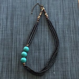 Jewelry - Necklace with 3 aqua blue beads